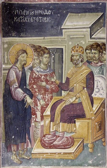 Великая Пятница. Христос перед Иродом. Фреска Старо-Нагорично, Македония. XII-XIV в.