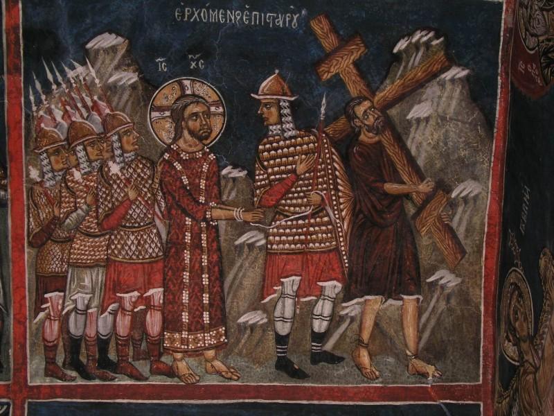 Великая Пятница. Симон Киринейский помогает Господу нести Крест. Кипрская фреска