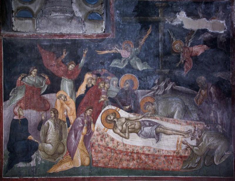 Великая Пятница. Оплакивание Христа. Фреска монастыря Грачаница