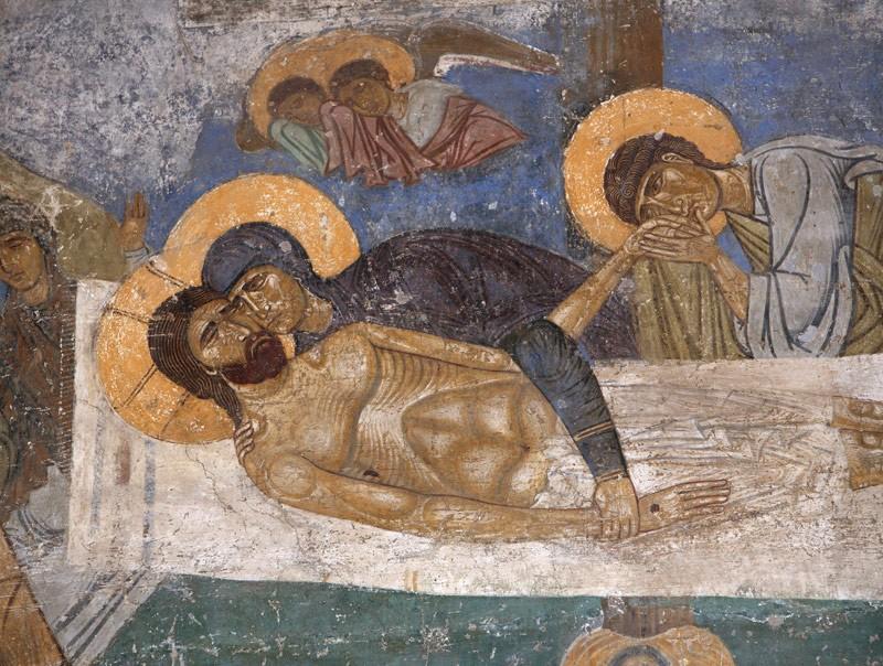 Великая Пятница. Оплакивание Христа. Фреска монастыря в Нерези, Македония, XII в.