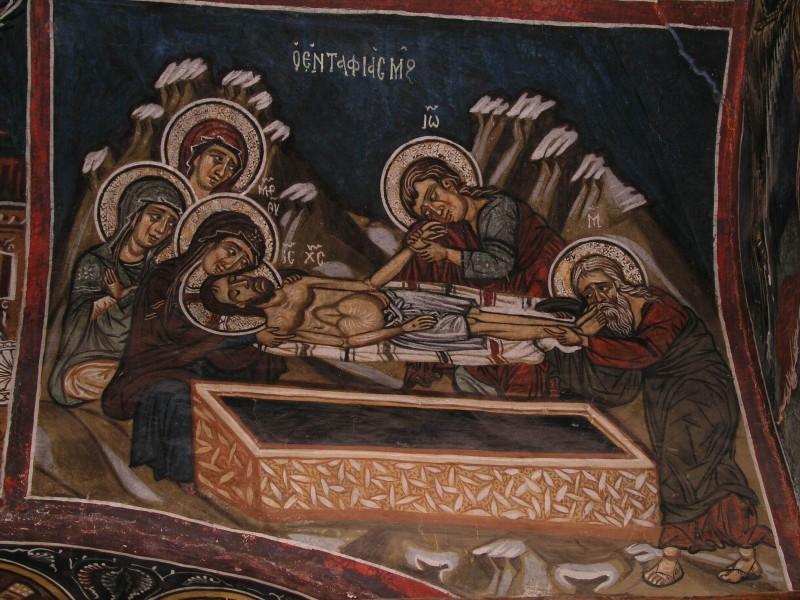 Великая Пятница. Положение во гроб. Кипрская фреска