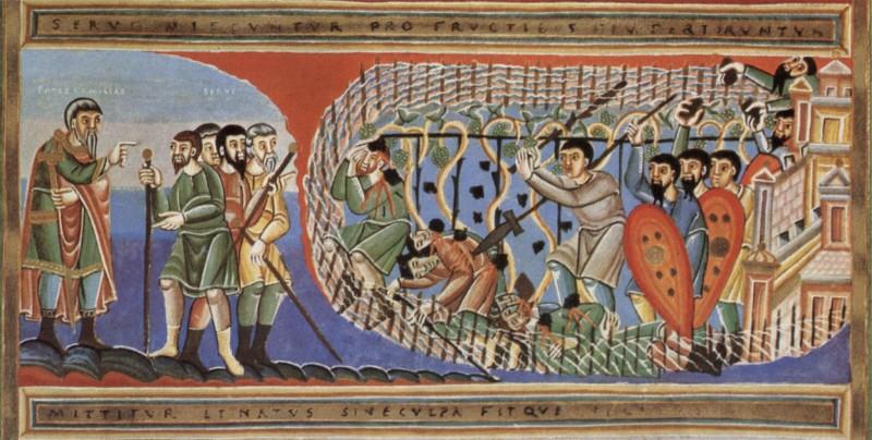 Великий Вторник. Притча о злых виноградарях. Книжная миниатюра XI в.