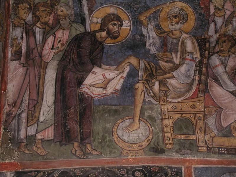 Великий Четверг. Умовение ног апостолов. Роспись церкви Панагии Асину в Никитари, Кипр. 1105 г.